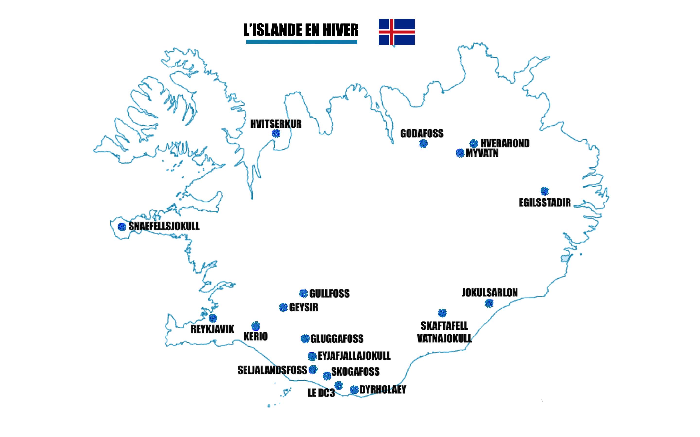 islande en hiver carte islande