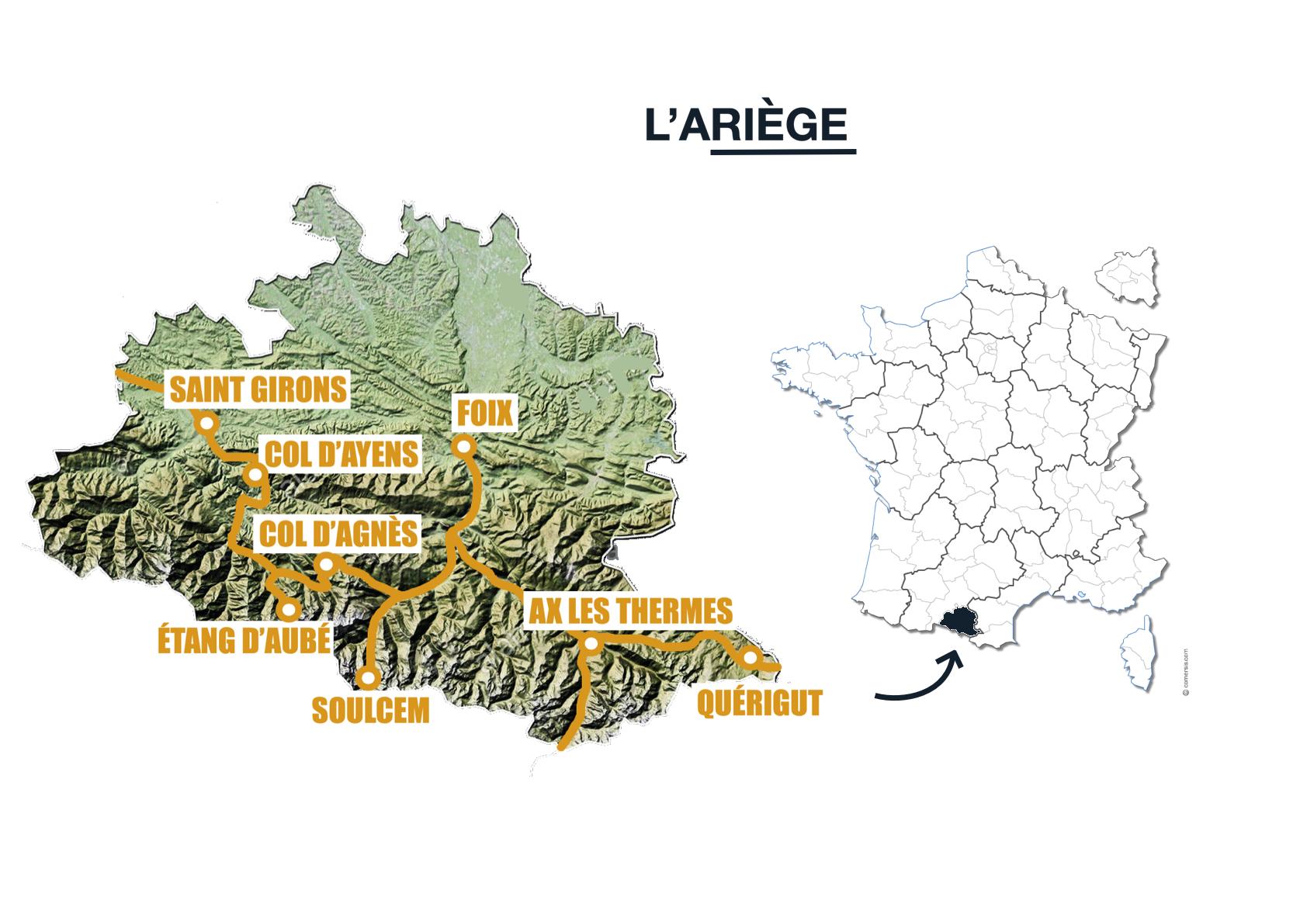 carte itinéraire road trip van ariège