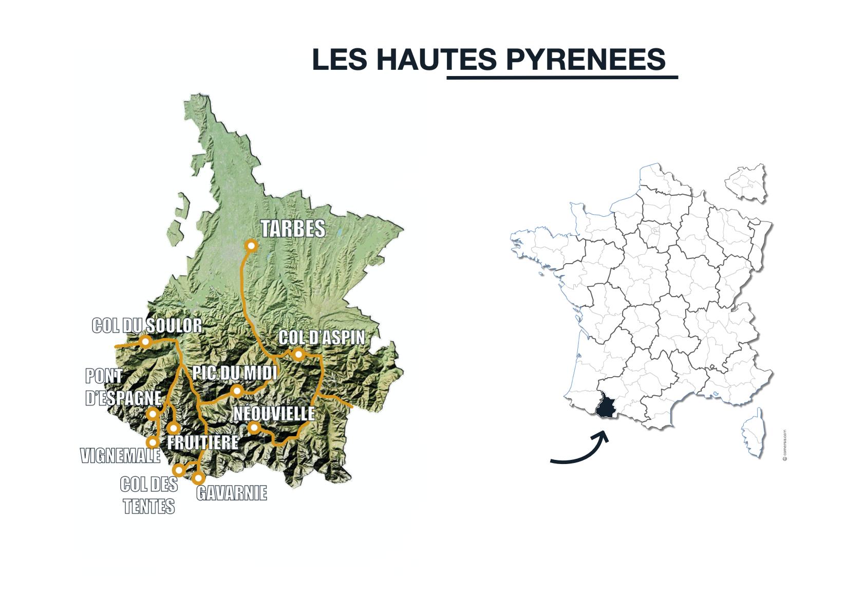 carte itinéraire van randonnée hautes pyrénées pyrenees
